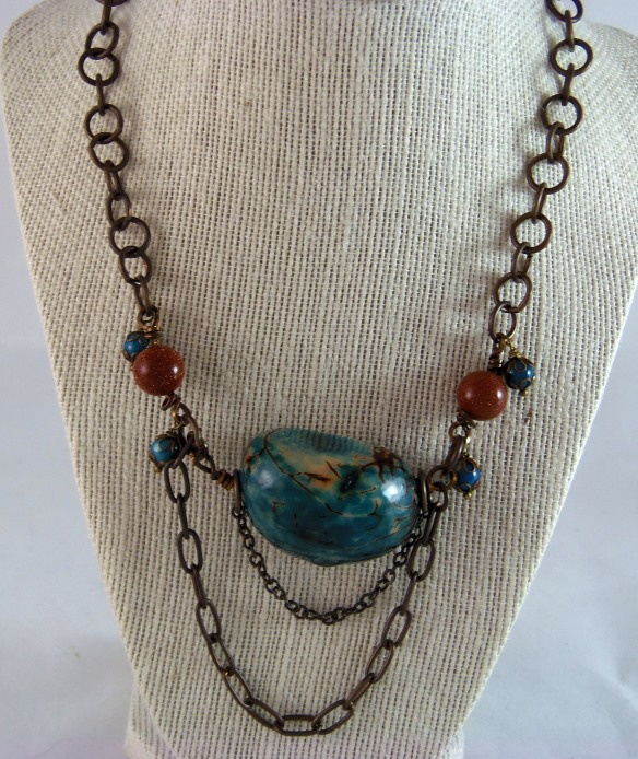 Vintage Inspired Tagua Seed and Chain Necklace by Junebug Jewelry Designs