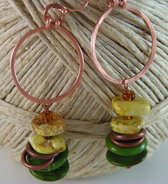 Green Tribal Copper Loop Earrings by Junebug Jewelry Designs on Etsy