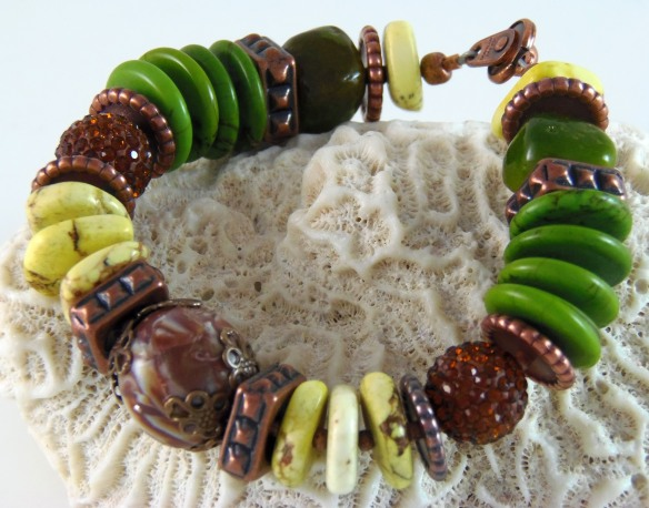 Green Tribal Bracelet from Junebug Jewelry Designs on Etsy.